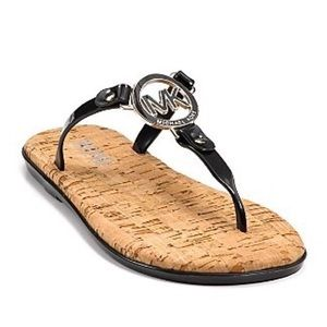 MK Charm Jelly Sandal Black with Gold Hardware